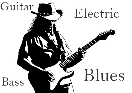 Electric blues guitar and bass loops in E